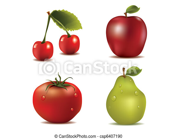 Vector photo-realistic fresh fruits - csp6407190