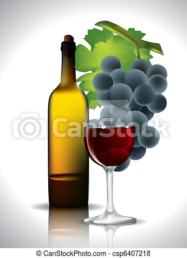 Still-life with grapes and red wine - csp6407218