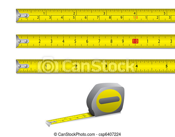 Tape measure in inches and centimet - csp6407224