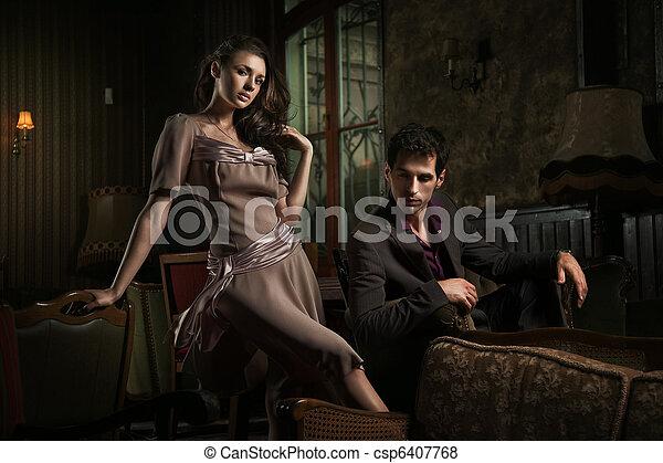 スタイル, ファッション, 写真, 恋人, 若い, 魅力的 - csp6407768