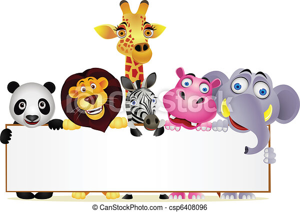 Animal cartoon and blank sign - csp6408096