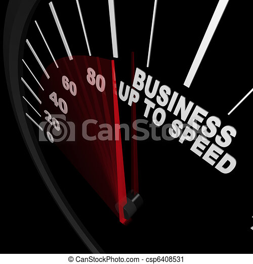 Business Up to Speed - Speedometer Measures Growth - csp6408531