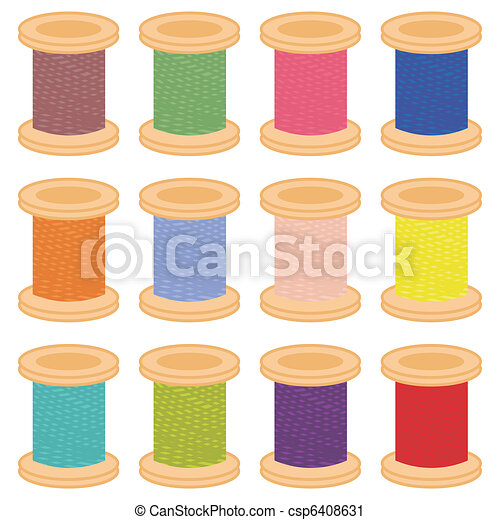 color reels of thread - csp6408631