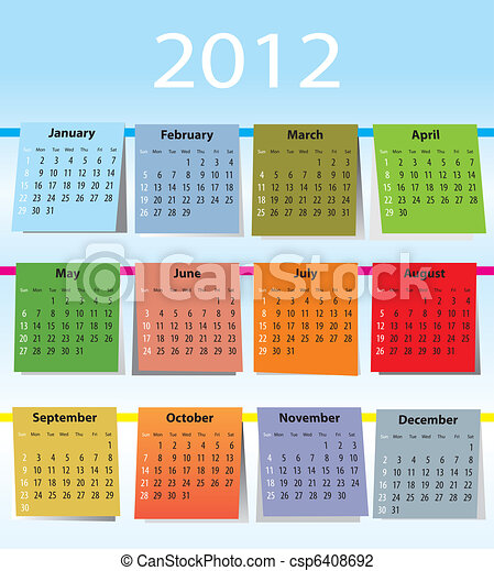 Colorful calendar for 2012 - csp6408692