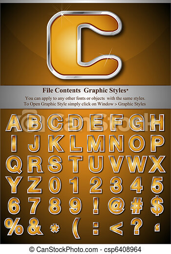 Gold Alphabet with Silver Emboss - csp6408964