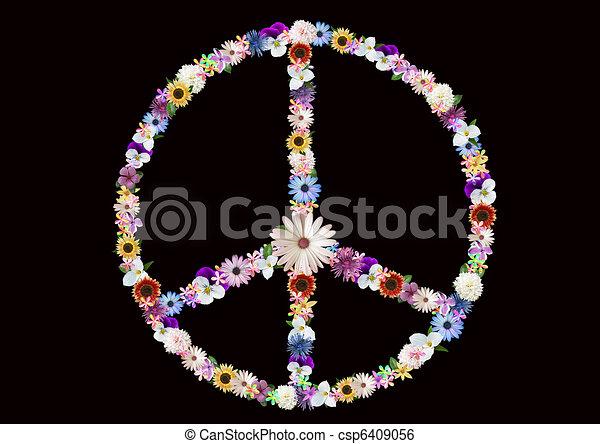 flower power peace sign - csp6409056