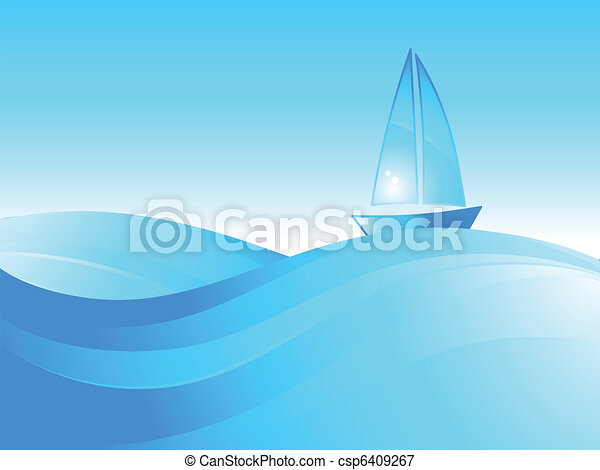 Boat on the sea waves. - csp6409267