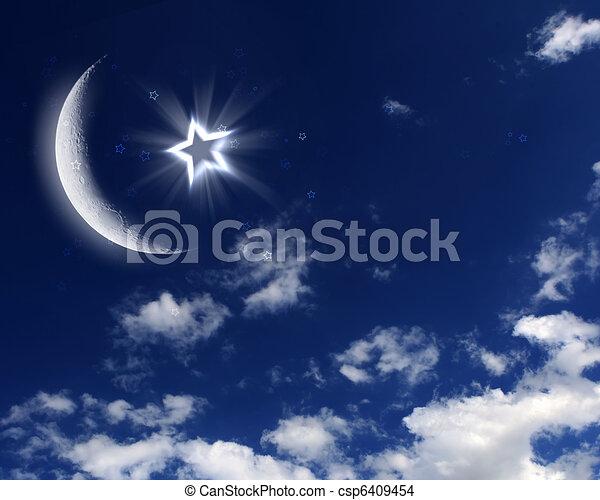 dessin de bleu ciel musulman toile lune symboles de islam csp6409454 recherchez. Black Bedroom Furniture Sets. Home Design Ideas