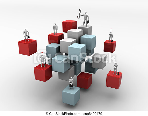 business people on 3d abstract cube background - csp6409479