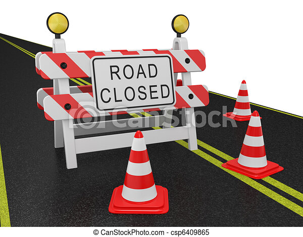 Road closed warning sign - csp6409865
