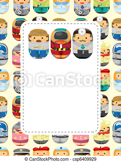 cartoon people job seamless pattern - csp6409929