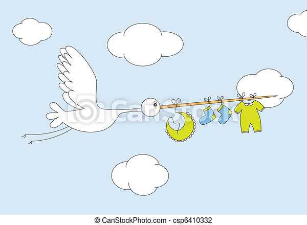 stork with baby boy clothes - csp6410332
