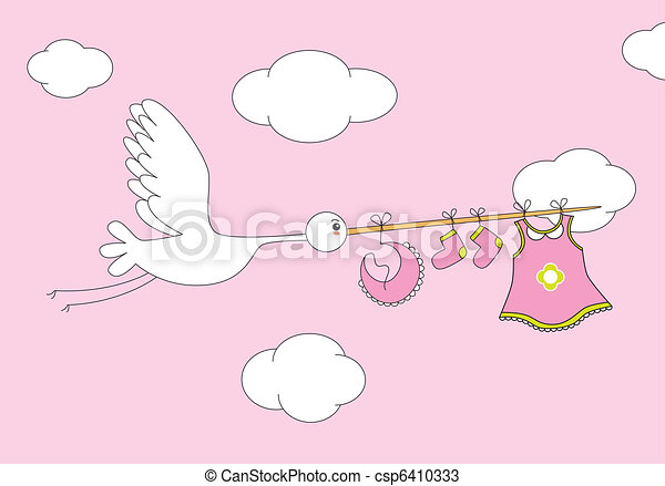 stork with baby girl clothes - csp6410333