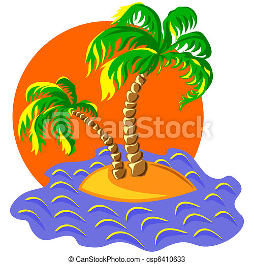vector two palm trees on an island in the ocean at sunset - csp6410633