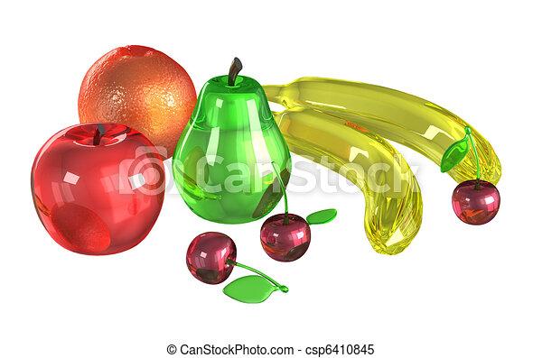 Stock de Ilustrationes de vidrio, modelos, frutas, blanco, Plano ...