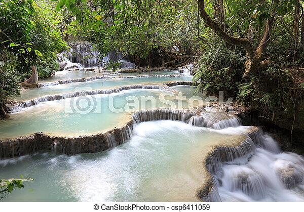 Kuang Si Falls close to Luanng Prabang, Laos - csp6411059