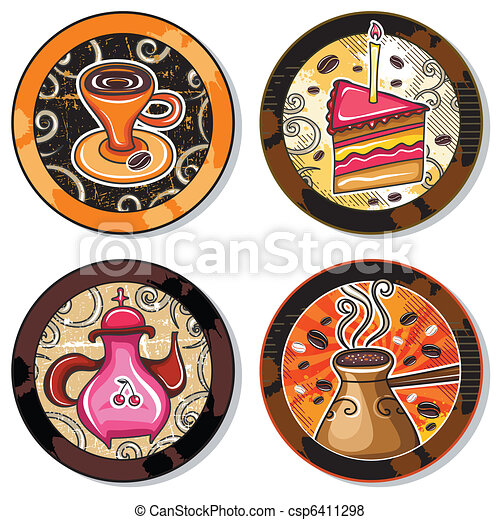 Grunge collection of drink coasters - csp6411298