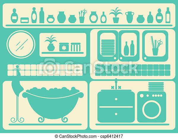 Vector ba o habitaci n el ba arse objetos conjunto for Objetos para banarse