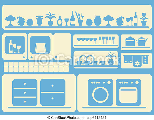Kitchen room and home objects set. - csp6412424