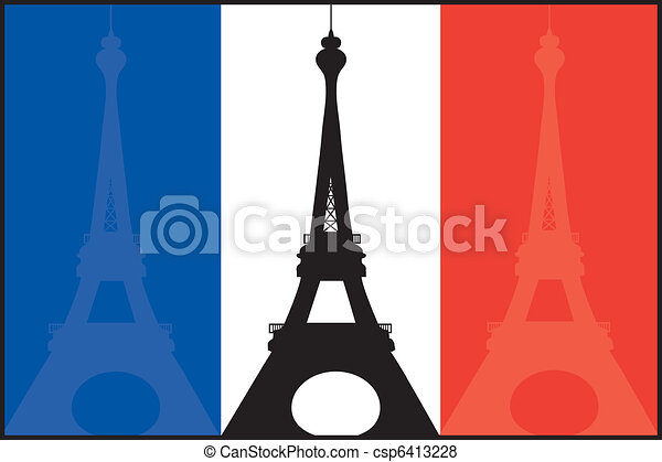 French Flag and Eiffel - csp6413228