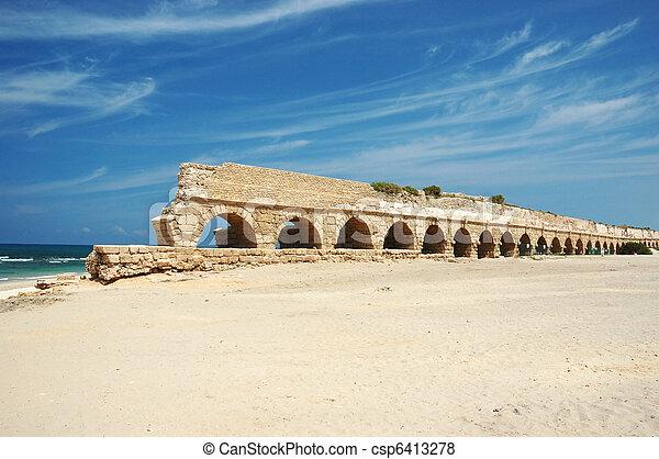 Old Caesarea aqueduct bridge, Israel - csp6413278