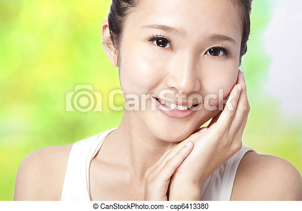 Beautiful asian young woman with skin care  - csp6413380