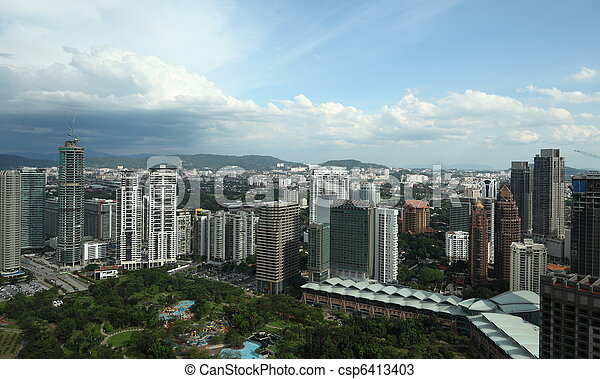 Downtown Kuala Lumpur at daylight - csp6413403