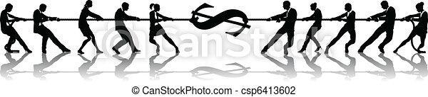 Tug of war dollar money concept - csp6413602