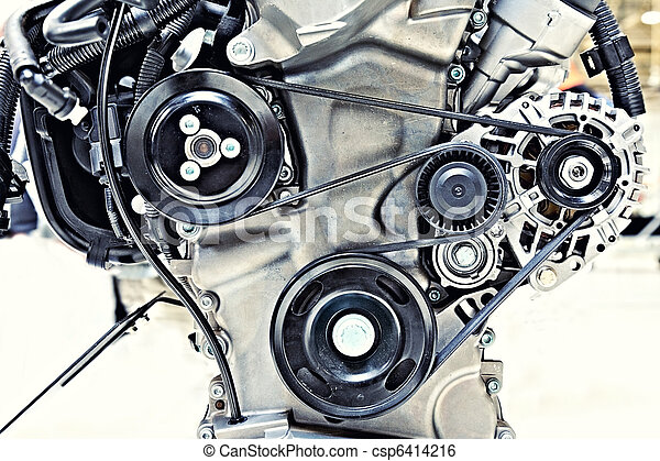 pulleys with belt in the car motor - csp6414216