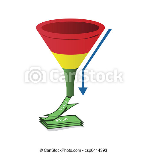 Red, yellow and green sales funnel with arrow - csp6414393