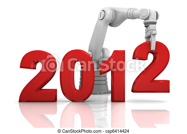 Industrial robotic arm building 2012 year - csp6414424