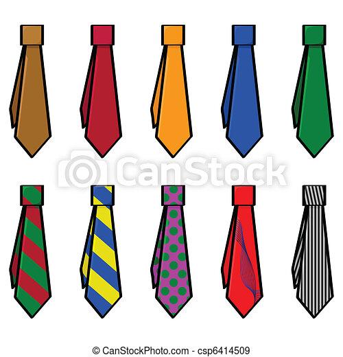 Eps vectores de corbatas caricatura ilustraci n de conjunto con csp6414509 buscar - Cravate dessin ...