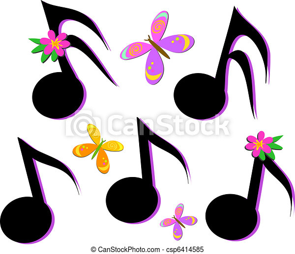 Musical Notes, Butterflies, and Flo - csp6414585