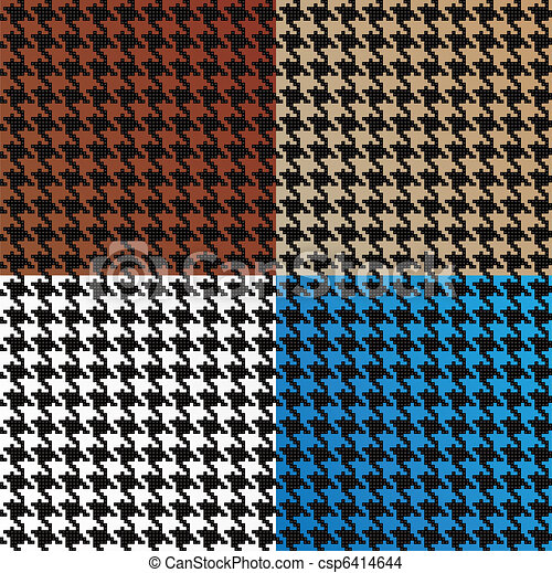 Seamless Vector Houndstooth Pattern Assortment - csp6414644
