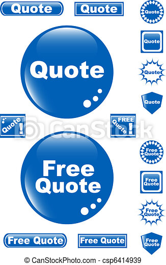 free quote glossy button blue icon - csp6414939
