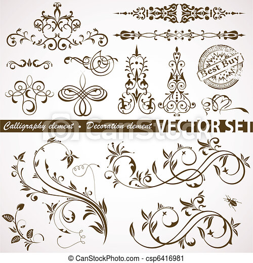 Calligraphic and floral element - csp6416981