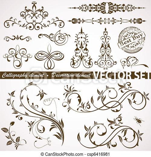 Calligraphic and floral element - csp6416981