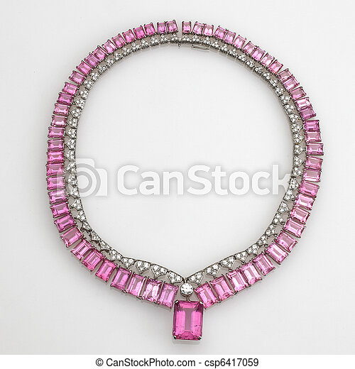 pink jewels and diamond necklace isolated on white - csp6417059