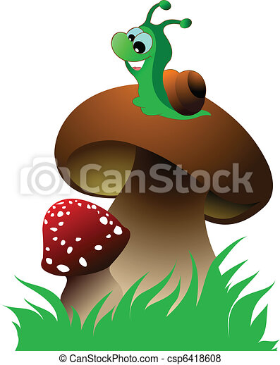 Funny green snail and two mushroom - csp6418608