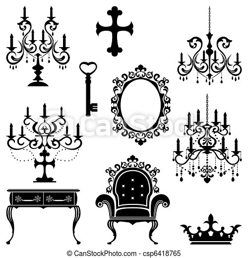 Antique design element set - csp6418765