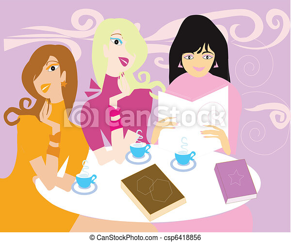 Ladies meeting in a book store - csp6418856
