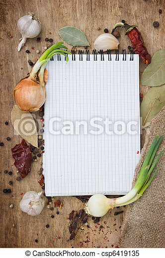 notebook to write recipes with spices - csp6419135
