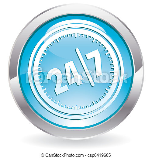 Gloss Button with twenty four hours by seven days - csp6419605