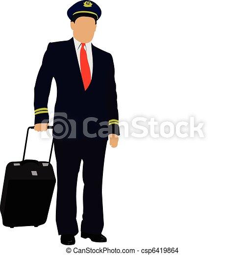 Pilot with suitcase. Vector illust - csp6419864