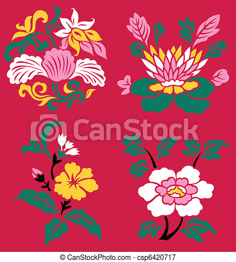 oriental flower plant illustration - csp6420717