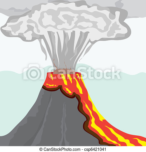 Fuming volcano with fiery lava and big column of smoke, vector illustration - csp6421041