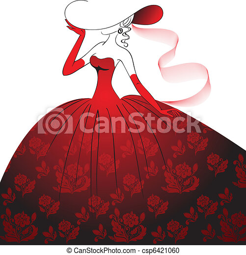 Lady in red evening dress - csp6421060