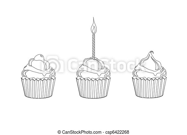 Cupcake colouring page - csp6422268