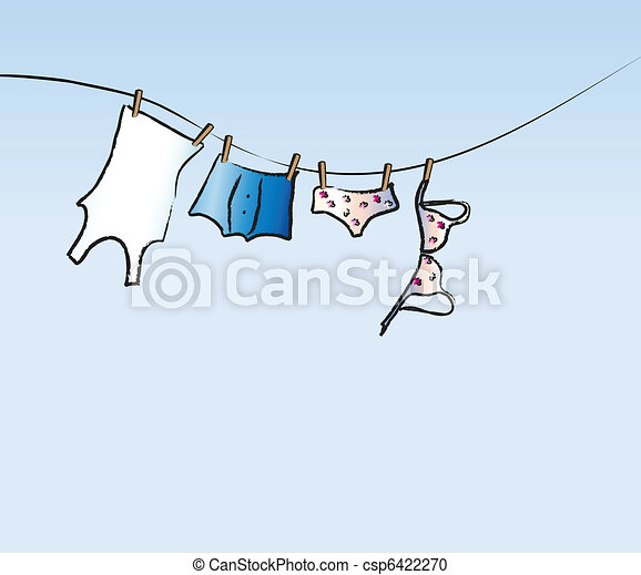 His and hers washing line - csp6422270