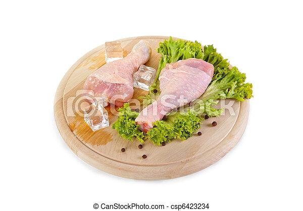 Fresh and frozen chicken legs with green salad  - csp6423234